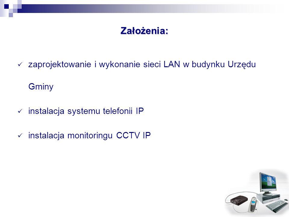 Założenia: zaprojektowanie i wykonanie sieci LAN w budynku Urzędu Gminy instalacja systemu telefonii IP instalacja monitoringu CCTV IP