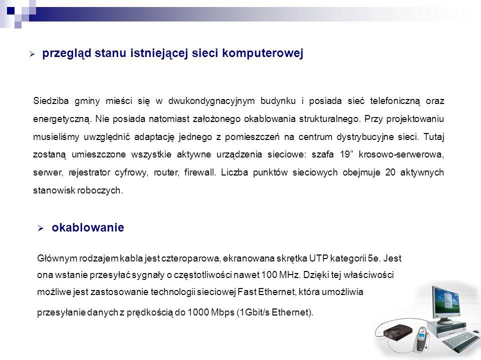 przegląd stanu istniejącej sieci komputerowej Siedziba gminy mieści się w dwukondygnacyjnym budynku i posiada sieć telefoniczną oraz energetyczną. Nie