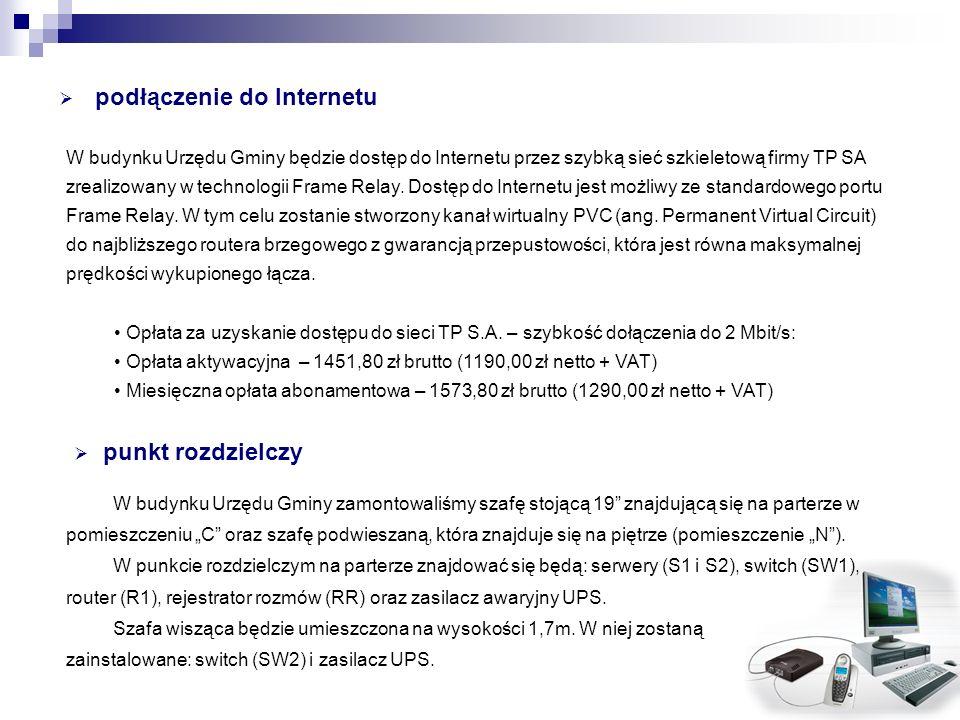 podłączenie do Internetu W budynku Urzędu Gminy będzie dostęp do Internetu przez szybką sieć szkieletową firmy TP SA zrealizowany w technologii Frame