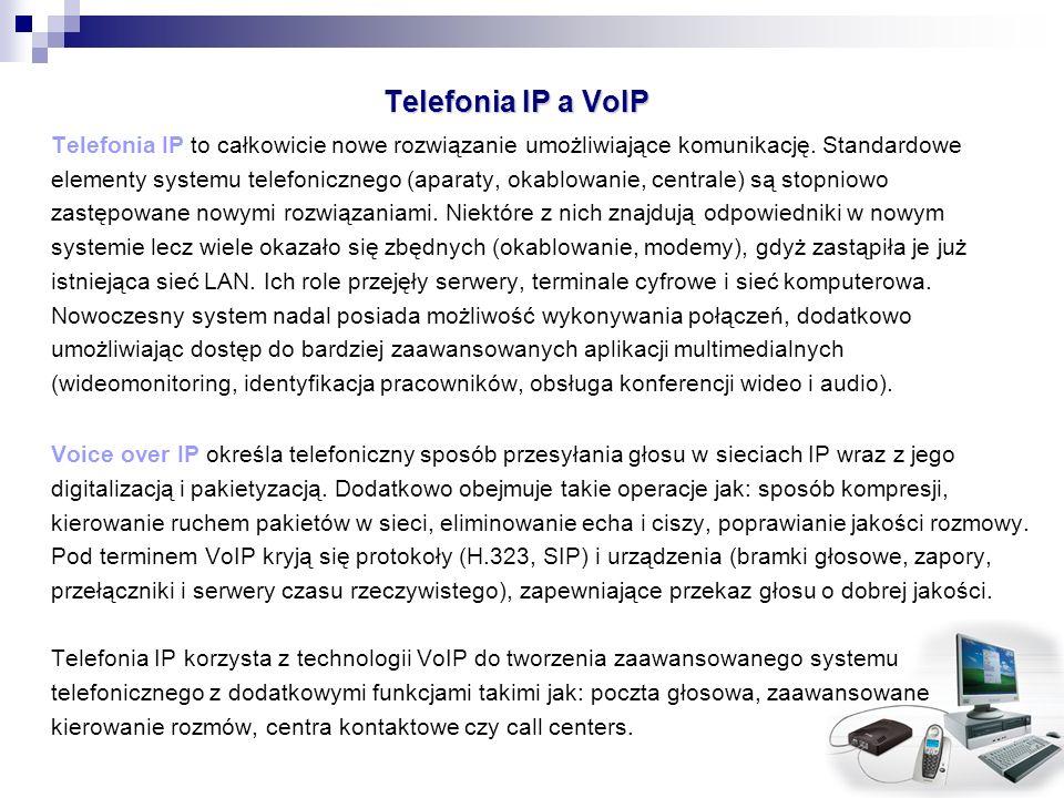 Telefonia IP a VoIP Telefonia IP to całkowicie nowe rozwiązanie umożliwiające komunikację. Standardowe elementy systemu telefonicznego (aparaty, okabl