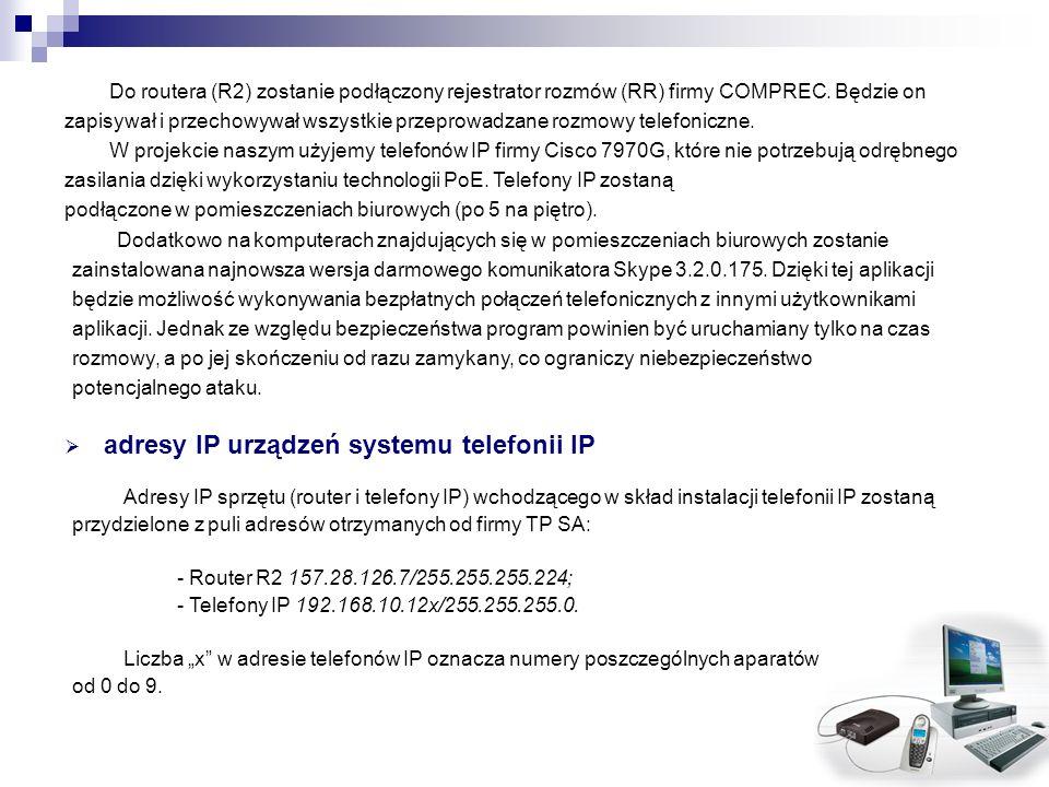 Do routera (R2) zostanie podłączony rejestrator rozmów (RR) firmy COMPREC. Będzie on zapisywał i przechowywał wszystkie przeprowadzane rozmowy telefon