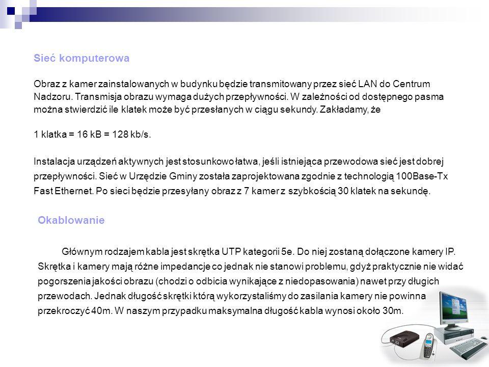 Sieć komputerowa Obraz z kamer zainstalowanych w budynku będzie transmitowany przez sieć LAN do Centrum Nadzoru. Transmisja obrazu wymaga dużych przep