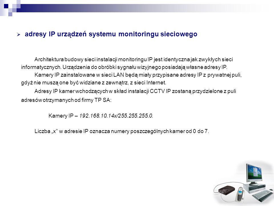 adresy IP urządzeń systemu monitoringu sieciowego Architektura budowy sieci instalacji monitoringu IP jest identyczna jak zwykłych sieci informatyczny