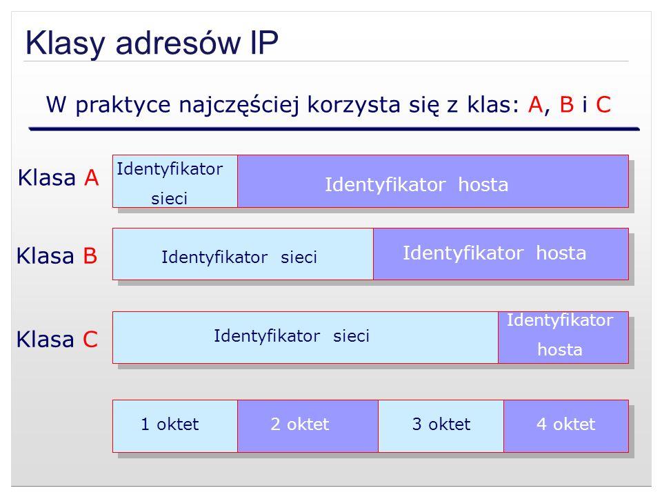 Klasy adresów IP W praktyce najczęściej korzysta się z klas: A, B i C Klasa A Klasa B Klasa C Identyfikator sieci Identyfikator hosta Identyfikator si