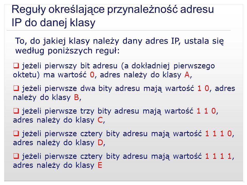Reguły określające przynależność adresu IP do danej klasy To, do jakiej klasy należy dany adres IP, ustala się według poniższych reguł: jeżeli pierwsz