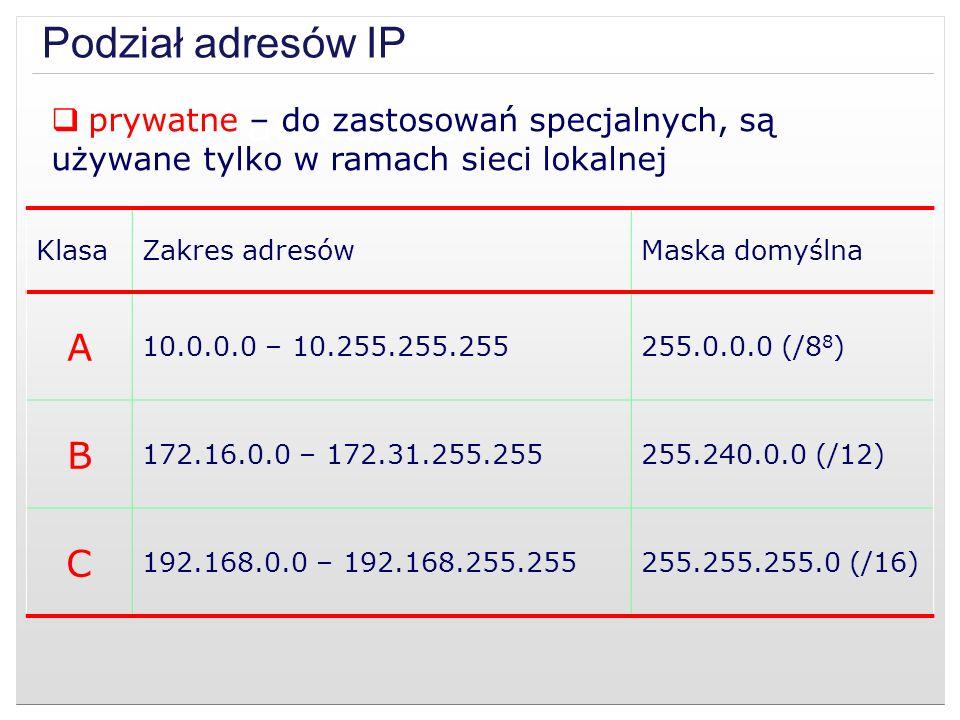 prywatne – do zastosowań specjalnych, są używane tylko w ramach sieci lokalnej KlasaZakres adresówMaska domyślna A 10.0.0.0 – 10.255.255.255255.0.0.0