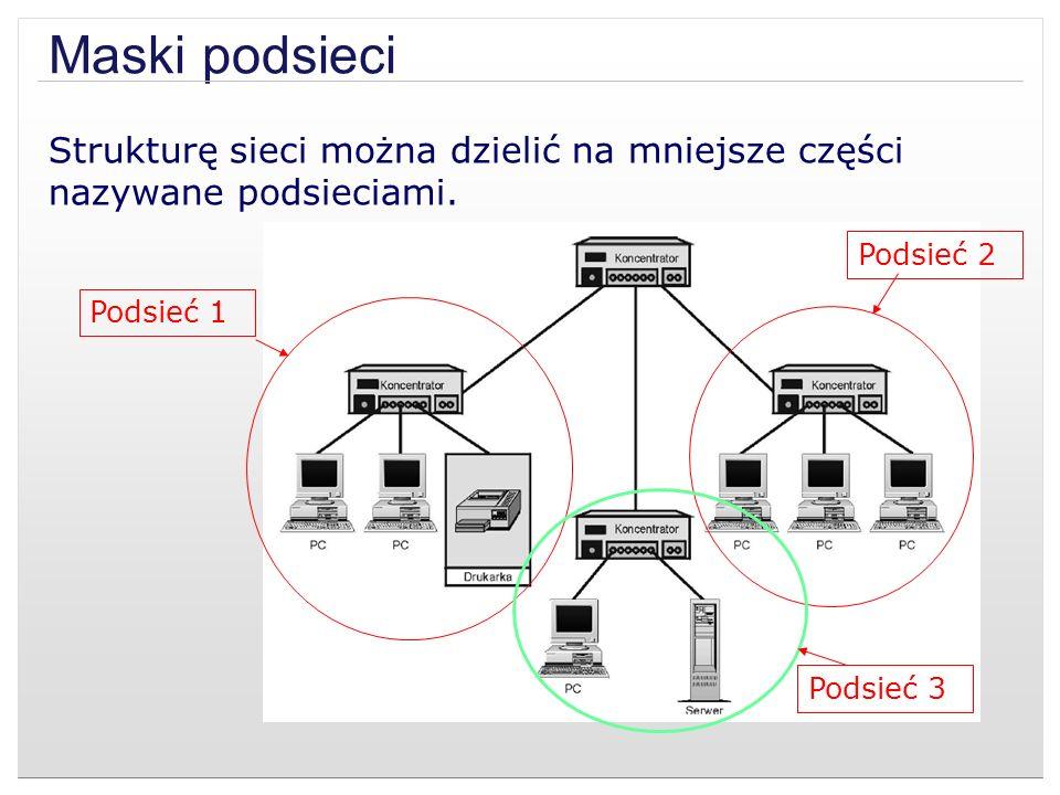 Maski podsieci Strukturę sieci można dzielić na mniejsze części nazywane podsieciami. Podsieć 2 Podsieć 1 Podsieć 3