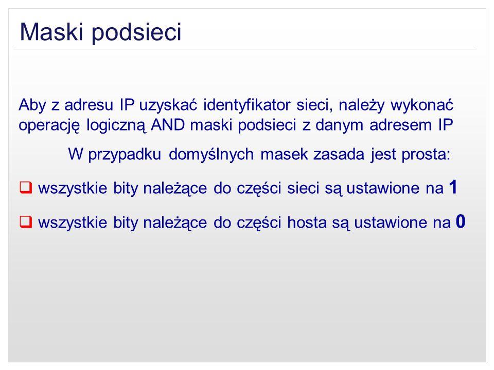 Maski podsieci Aby z adresu IP uzyskać identyfikator sieci, należy wykonać operację logiczną AND maski podsieci z danym adresem IP W przypadku domyśln