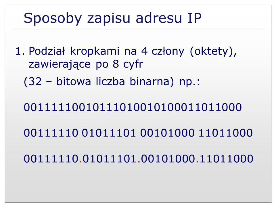 Sposoby zapisu adresu IP (32 – bitowa liczba binarna) np.: 00111110010111010010100011011000 00111110.01011101.00101000.11011000 1.Podział kropkami na