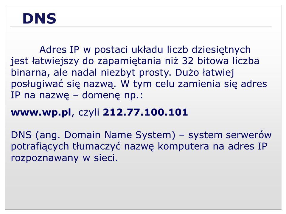 DNS Adres IP w postaci układu liczb dziesiętnych jest łatwiejszy do zapamiętania niż 32 bitowa liczba binarna, ale nadal niezbyt prosty. Dużo łatwiej