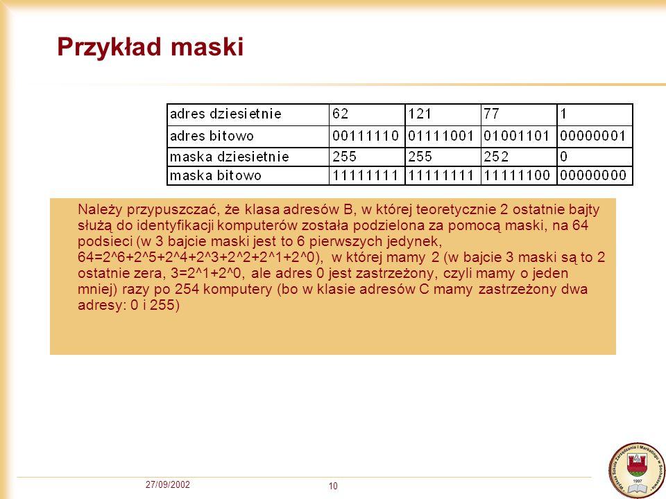 27/09/2002 10 Przykład maski Należy przypuszczać, że klasa adresów B, w której teoretycznie 2 ostatnie bajty służą do identyfikacji komputerów została