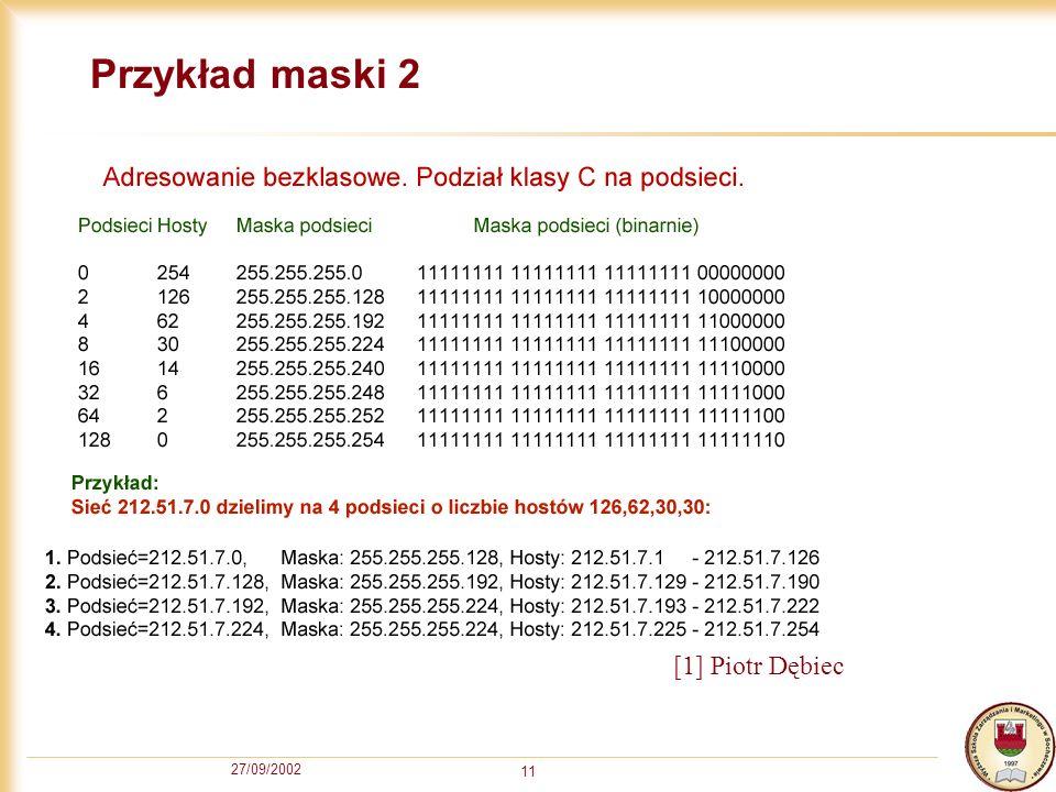 27/09/2002 11 Przykład maski 2 [1] Piotr Dębiec