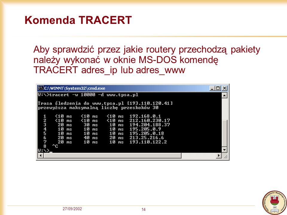 27/09/2002 14 Komenda TRACERT Aby sprawdzić przez jakie routery przechodzą pakiety należy wykonać w oknie MS-DOS komendę TRACERT adres_ip lub adres_ww