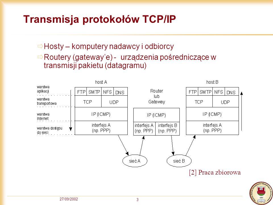 27/09/2002 3 Transmisja protokołów TCP/IP Hosty – komputery nadawcy i odbiorcy Routery (gatewaye) - urządzenia pośredniczące w transmisji pakietu (dat