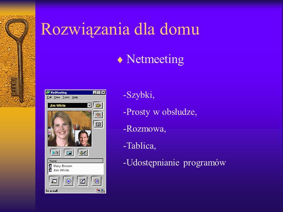 Rozwiązania dla domu Netmeeting -Szybki, -Prosty w obsłudze, -Rozmowa, -Tablica, -Udostępnianie programów