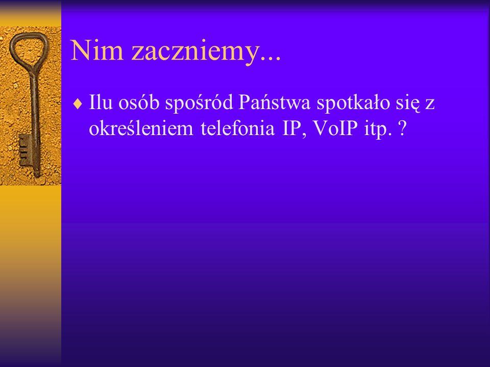 Nim zaczniemy... Ilu osób spośród Państwa spotkało się z określeniem telefonia IP, VoIP itp.