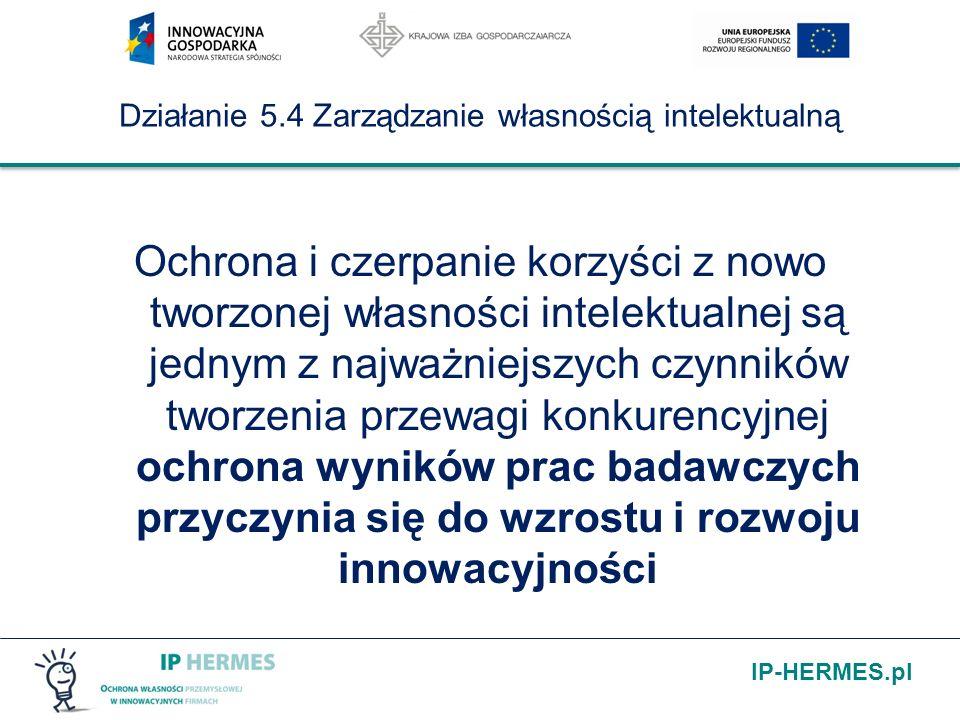 IP-HERMES.pl Działanie 5.4 Zarządzanie własnością intelektualną Kwota wsparcia na: 1.uzyskanie ochrony prawa własności przemysłowej 2.realizację ochrony własności przemysłowej nie może być niższa niż 2 tysiące złotych ani nie może przekroczyć 400 tysięcy złotych dla jednego przedsiębiorcy na jeden projekt.