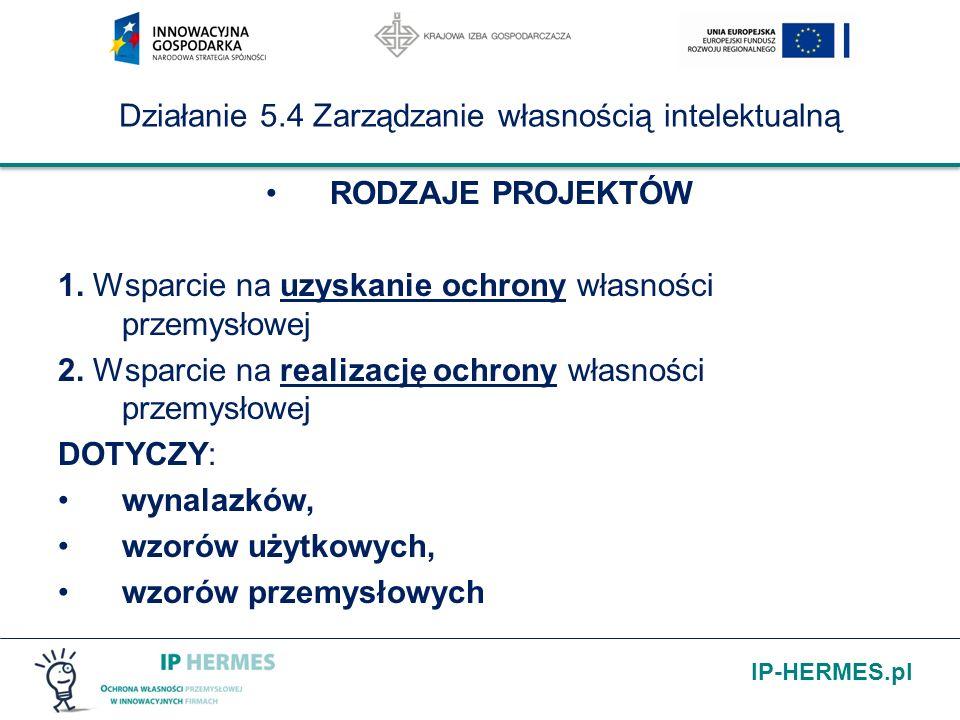 IP-HERMES.pl Działanie 5.4 Zarządzanie własnością intelektualną RODZAJE PROJEKTÓW 1.