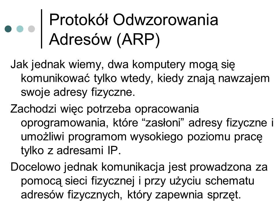 Protokół Odwzorowania Adresów (ARP) Jak jednak wiemy, dwa komputery mogą się komunikować tylko wtedy, kiedy znają nawzajem swoje adresy fizyczne. Zach