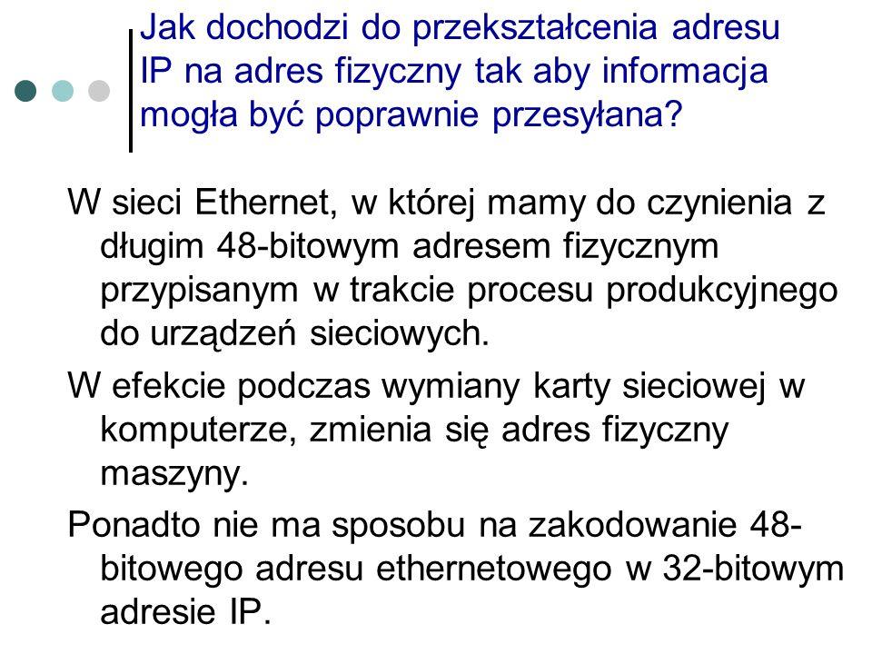 Jak dochodzi do przekształcenia adresu IP na adres fizyczny tak aby informacja mogła być poprawnie przesyłana? W sieci Ethernet, w której mamy do czyn