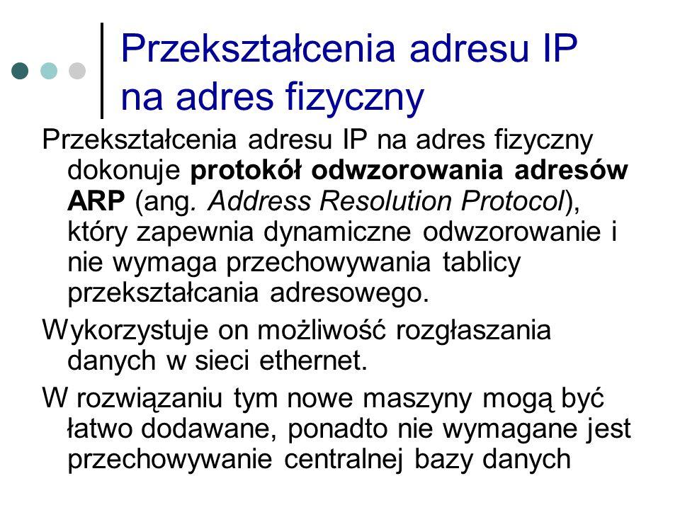 Przekształcenia adresu IP na adres fizyczny Przekształcenia adresu IP na adres fizyczny dokonuje protokół odwzorowania adresów ARP (ang. Address Resol