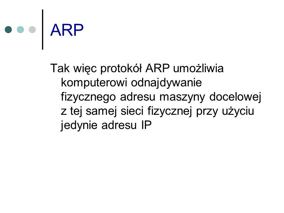 ARP Tak więc protokół ARP umożliwia komputerowi odnajdywanie fizycznego adresu maszyny docelowej z tej samej sieci fizycznej przy użyciu jedynie adres
