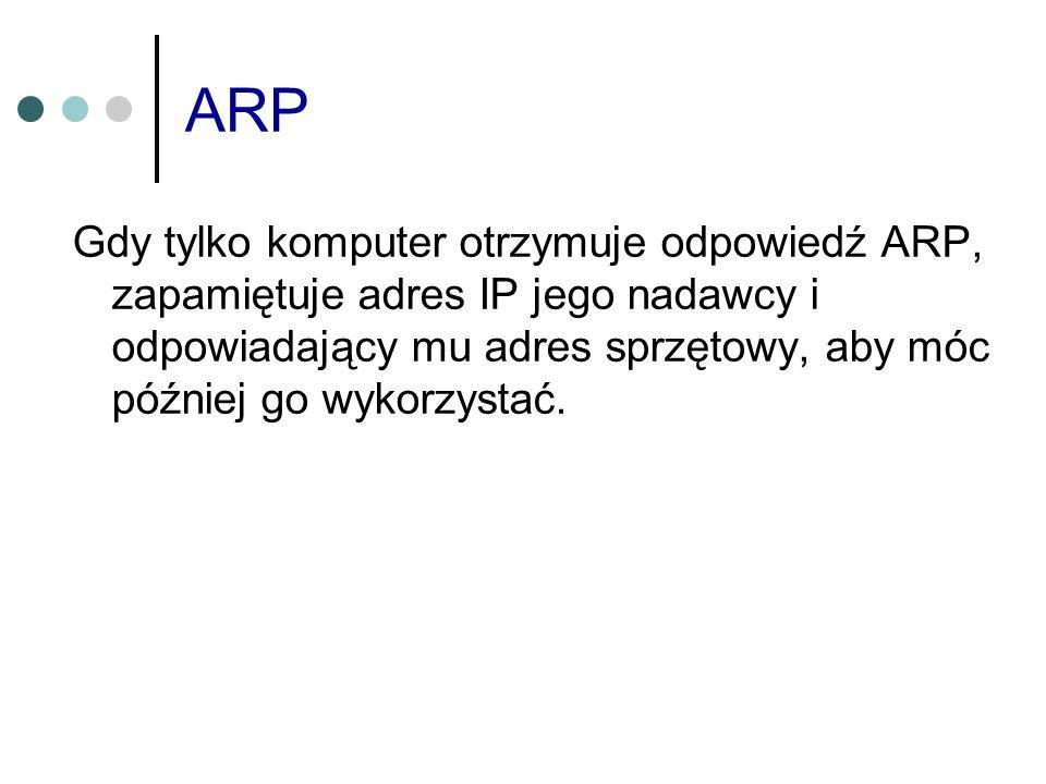 ARP Gdy tylko komputer otrzymuje odpowiedź ARP, zapamiętuje adres IP jego nadawcy i odpowiadający mu adres sprzętowy, aby móc później go wykorzystać.