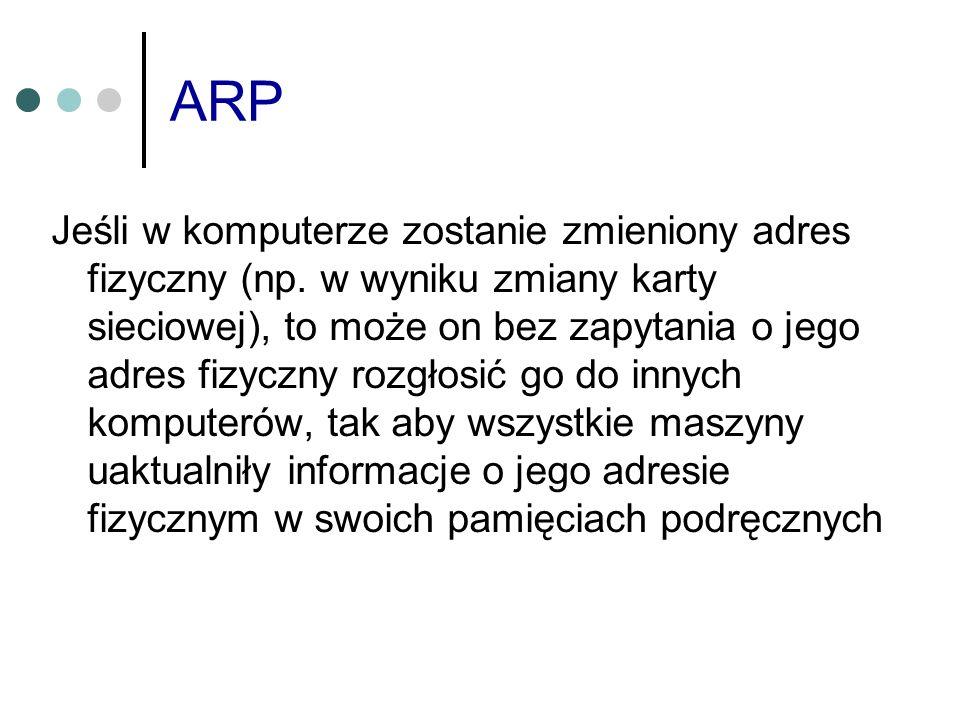 ARP Jeśli w komputerze zostanie zmieniony adres fizyczny (np. w wyniku zmiany karty sieciowej), to może on bez zapytania o jego adres fizyczny rozgłos