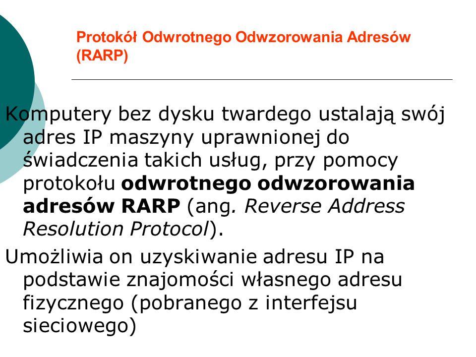 Protokół Odwrotnego Odwzorowania Adresów (RARP) Komputery bez dysku twardego ustalają swój adres IP maszyny uprawnionej do świadczenia takich usług, p