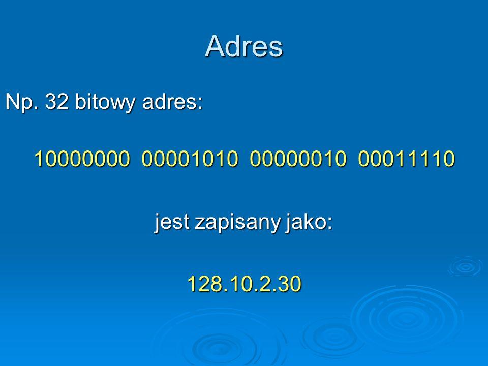 Adres Np. 32 bitowy adres: 10000000 00001010 00000010 00011110 jest zapisany jako: 128.10.2.30