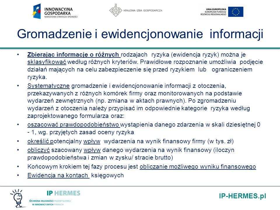IP-HERMES.pl Gromadzenie i ewidencjonowanie informacji Zbierając informację o różnych rodzajach ryzyka (ewidencja ryzyk) można je sklasyfikować według
