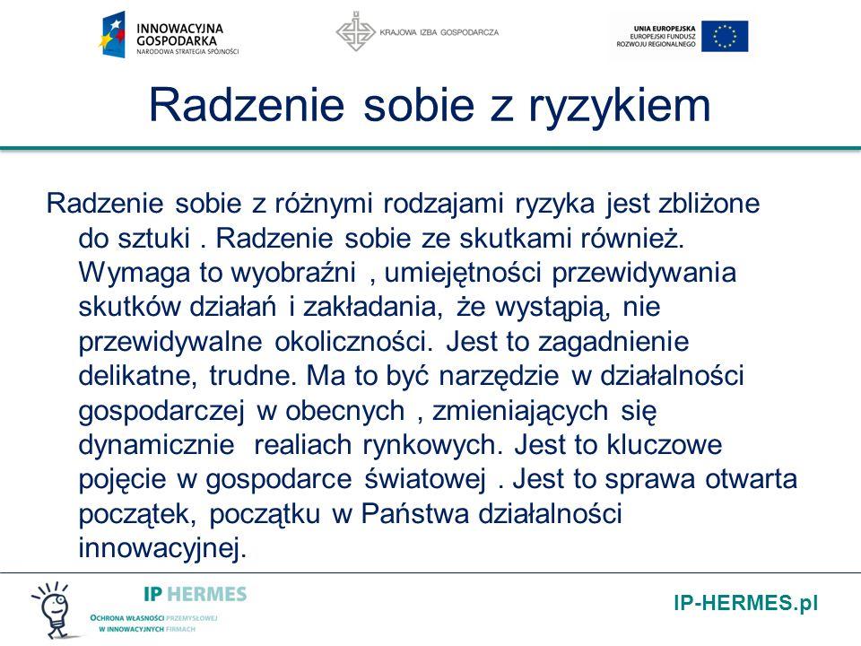IP-HERMES.pl Radzenie sobie z ryzykiem Radzenie sobie z różnymi rodzajami ryzyka jest zbliżone do sztuki. Radzenie sobie ze skutkami również. Wymaga t