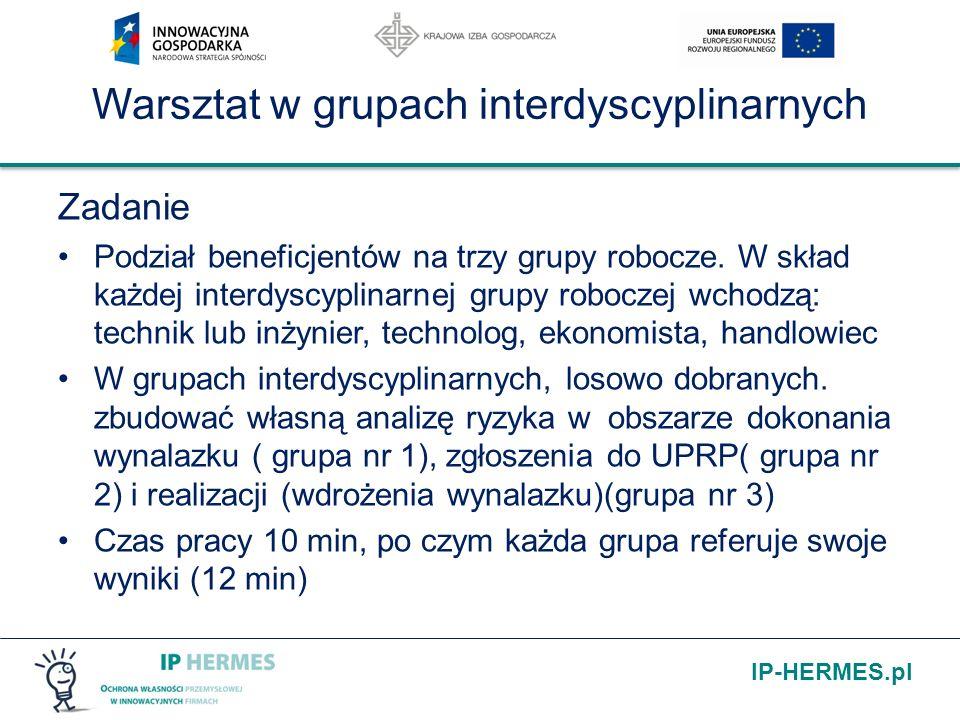 IP-HERMES.pl Warsztat w grupach interdyscyplinarnych Zadanie Podział beneficjentów na trzy grupy robocze. W skład każdej interdyscyplinarnej grupy rob