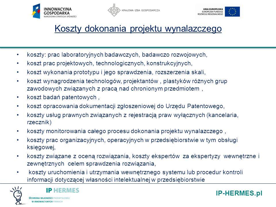 IP-HERMES.pl Koszty dokonania projektu wynalazczego koszty: prac laboratoryjnych badawczych, badawczo rozwojowych, koszt prac projektowych, technologi