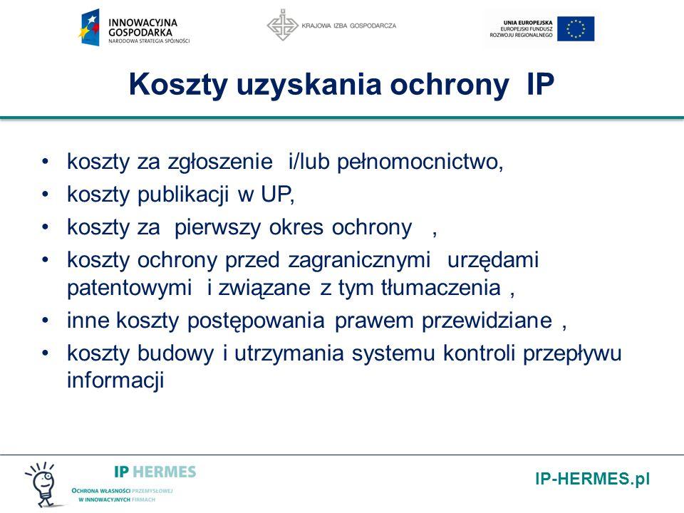 IP-HERMES.pl Koszty uzyskania ochrony IP koszty za zgłoszenie i/lub pełnomocnictwo, koszty publikacji w UP, koszty za pierwszy okres ochrony, koszty o