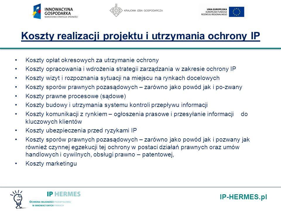 IP-HERMES.pl Koszty realizacji projektu i utrzymania ochrony IP Koszty opłat okresowych za utrzymanie ochrony Koszty opracowania i wdrożenia strategii