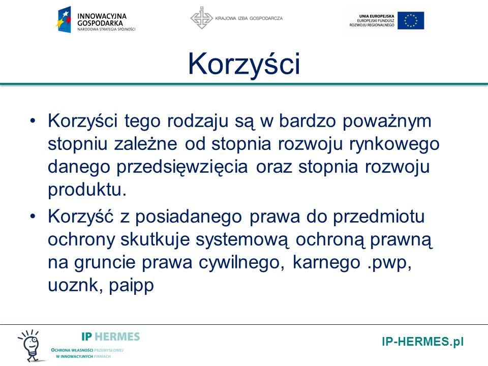 IP-HERMES.pl Korzyści Korzyści tego rodzaju są w bardzo poważnym stopniu zależne od stopnia rozwoju rynkowego danego przedsięwzięcia oraz stopnia rozw