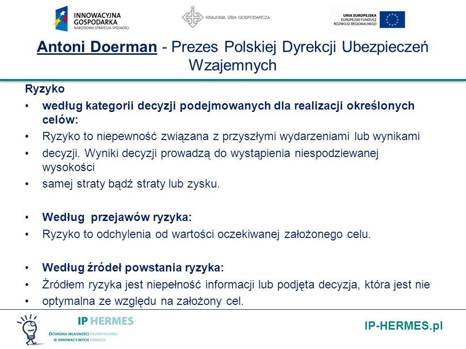 IP-HERMES.pl Antoni Doerman - Prezes Polskiej Dyrekcji Ubezpieczeń Wzajemnych Ryzyko według kategorii decyzji podejmowanych dla realizacji określonych
