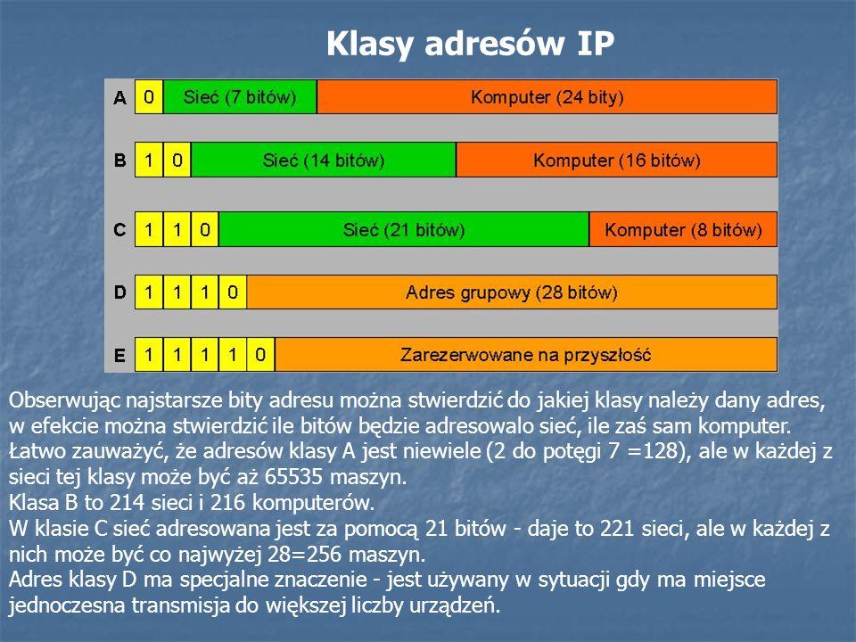 Klasy adresów IP Obserwując najstarsze bity adresu można stwierdzić do jakiej klasy należy dany adres, w efekcie można stwierdzić ile bitów będzie adr