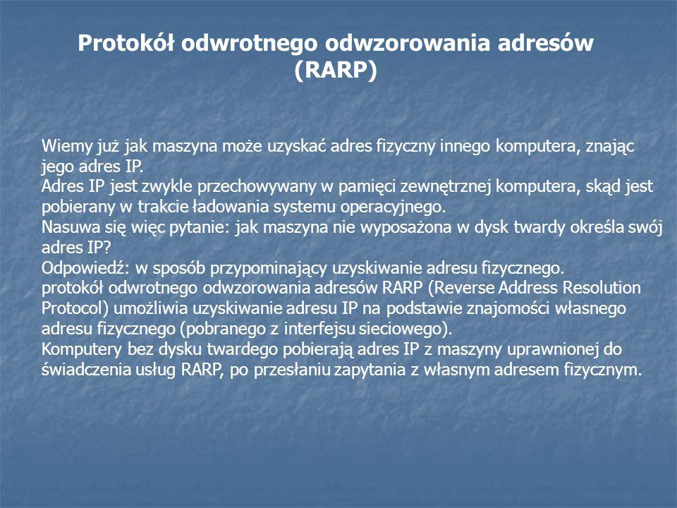Protokół odwrotnego odwzorowania adresów (RARP) Wiemy już jak maszyna może uzyskać adres fizyczny innego komputera, znając jego adres IP. Adres IP jes