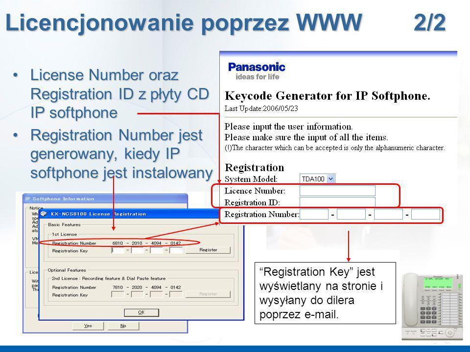 Registration Key jest wyświetlany na stronie i wysyłany do dilera poprzez e-mail. License Number oraz Registration ID z płyty CD IP softphoneLicense N