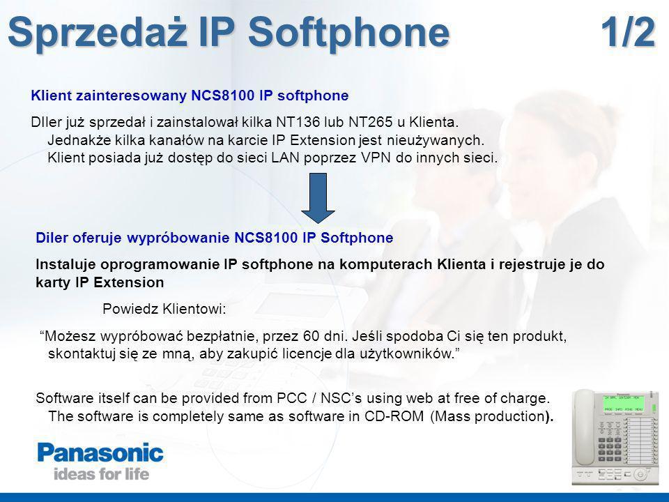 Klient zainteresowany NCS8100 IP softphone DIler już sprzedał i zainstalował kilka NT136 lub NT265 u Klienta. Jednakże kilka kanałów na karcie IP Exte