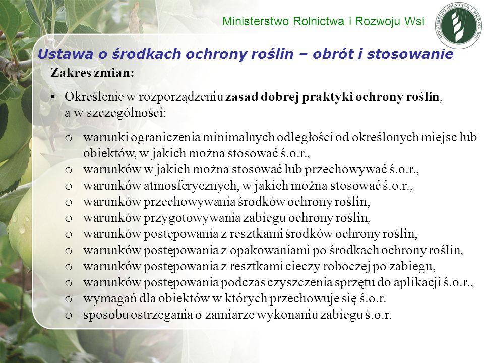 Zakres zmian: Określenie w rozporządzeniu zasad dobrej praktyki ochrony roślin, a w szczególności: o warunki ograniczenia minimalnych odległości od ok