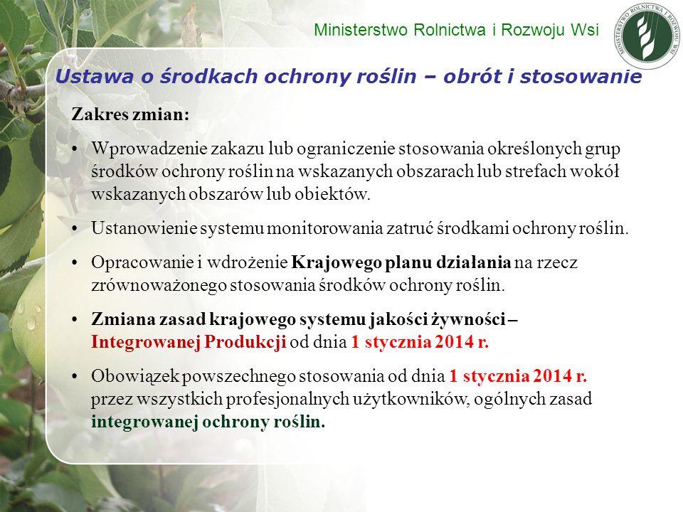 Zakres zmian: Wprowadzenie zakazu lub ograniczenie stosowania określonych grup środków ochrony roślin na wskazanych obszarach lub strefach wokół wskaz