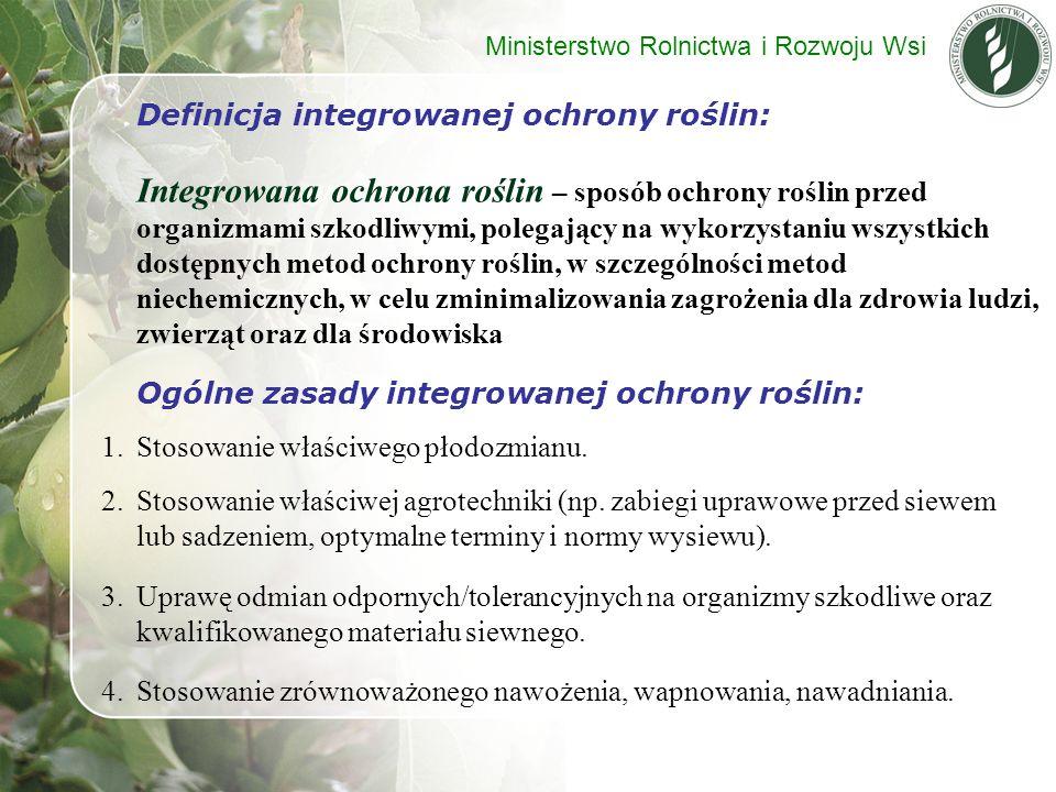 Definicja integrowanej ochrony roślin: Integrowana ochrona roślin – sposób ochrony roślin przed organizmami szkodliwymi, polegający na wykorzystaniu w