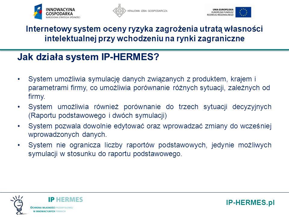 IP-HERMES.pl Internetowy system oceny ryzyka zagrożenia utratą własności intelektualnej przy wchodzeniu na rynki zagraniczne Jak działa system IP-HERM