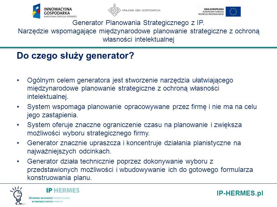 IP-HERMES.pl Generator Planowania Strategicznego z IP. Narzędzie wspomagające międzynarodowe planowanie strategiczne z ochroną własności intelektualne