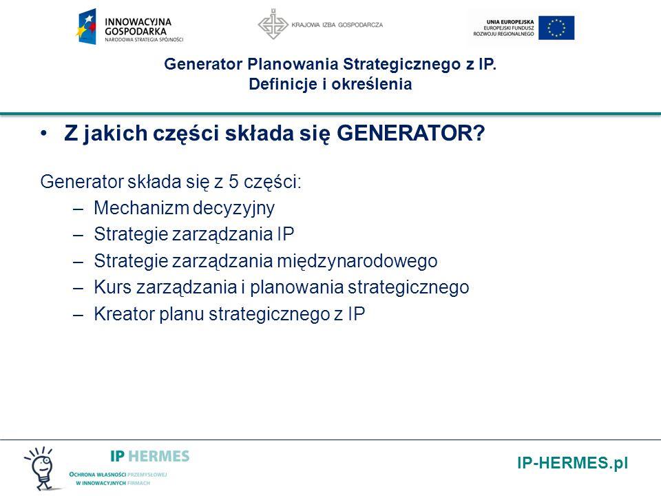 IP-HERMES.pl Generator Planowania Strategicznego z IP. Definicje i określenia Z jakich części składa się GENERATOR? Generator składa się z 5 części: –