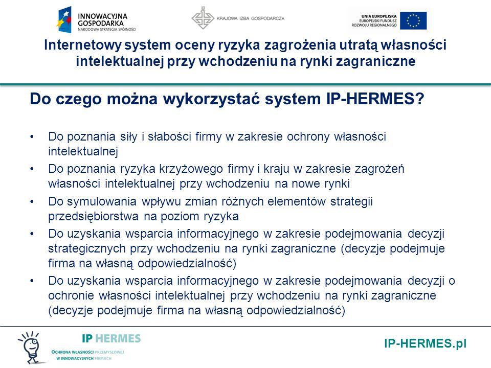 IP-HERMES.pl Internetowy system oceny ryzyka zagrożenia utratą własności intelektualnej przy wchodzeniu na rynki zagraniczne Do czego można wykorzysta