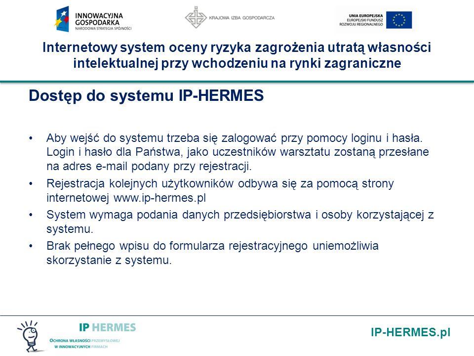 IP-HERMES.pl Internetowy system oceny ryzyka zagrożenia utratą własności intelektualnej przy wchodzeniu na rynki zagraniczne Dostęp do systemu IP-HERM